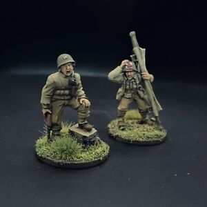 PRO PAINTED 28mm WW2 USA leader Senior con Medic - 28mm-BOLT ACTION