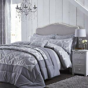 Catherine Lansfield Damask Jacquard Silver - Duvet Bedding Set