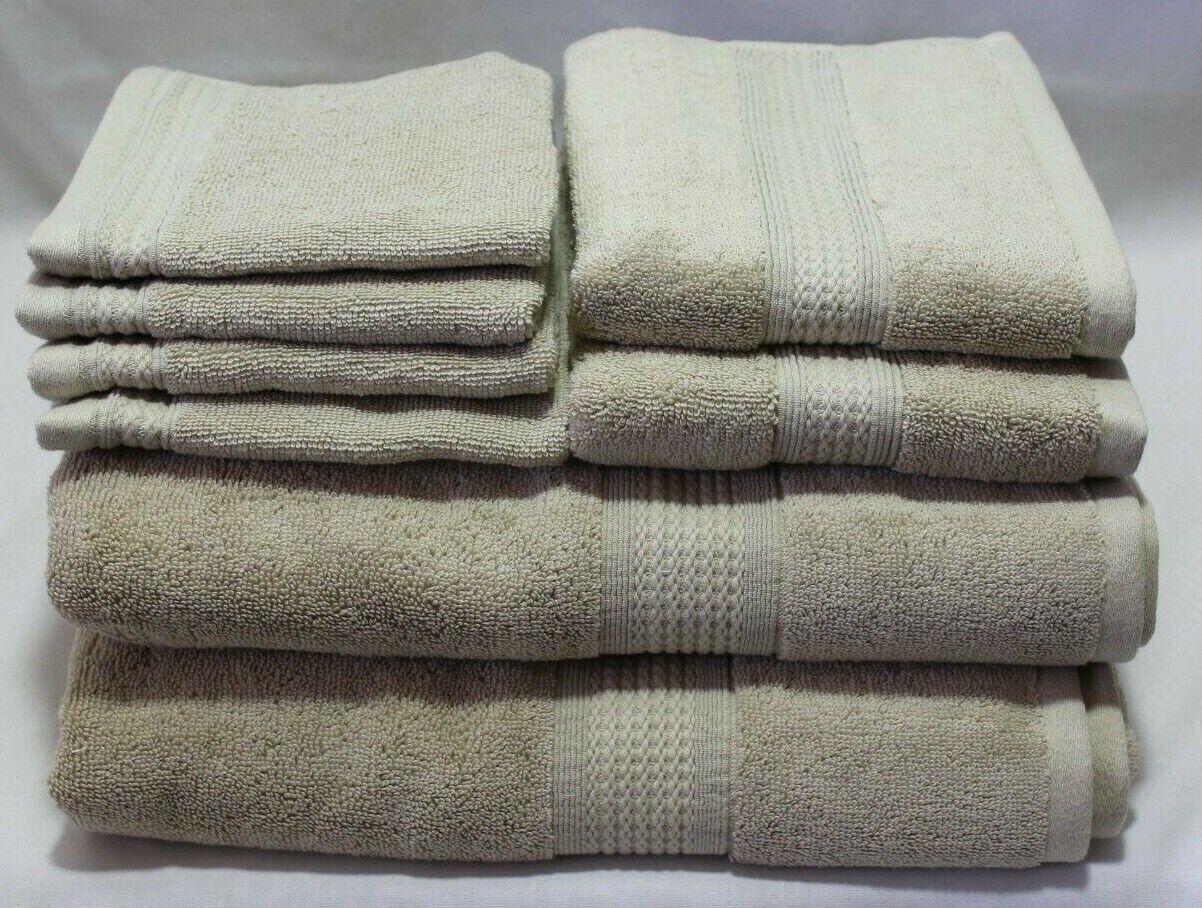 DKNY Eight Piece Solid Medium Beige (Putty) Bathroom Towel Set 100% Cotton New