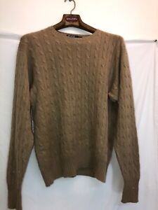 Details about Polo Ralph Lauren Mens L Tan 100% Cashmere Cable Knit Sweater