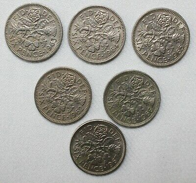 100 British Sixpence Coins Wedding Tradition UK Great Britain 6 Pence Coin Lot