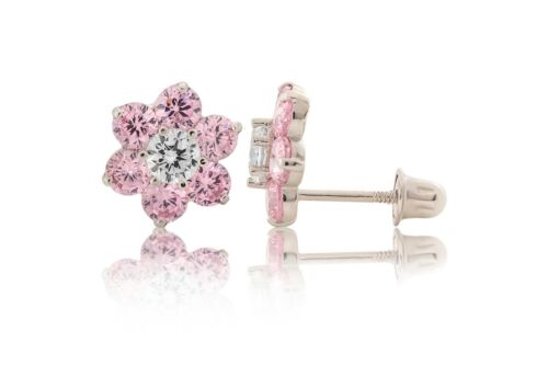 14K White Gold Flower Fancy Light Pink Screw Back Stud Earrings 2CT