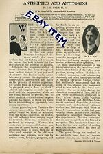 1912 ANTISEPTICS and ANTITOXINS Medical Doctor E. E. Hyde FIGHTING MOCROBES
