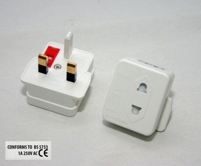 10X Shaver Plug Adapter UK To 2 Pin Socket Plug Fuse Bathroom Shaving Toothbrush