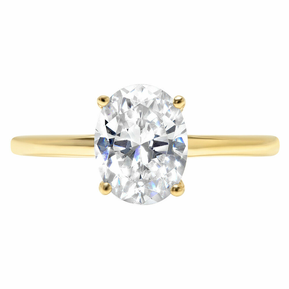 2.6ct Oval Cut Wedding Solitaire Engagement Anniversary Ring 14k Yellow gold