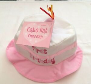 1st Birthday Baby Hat Cake With Candle Pink White Girls First