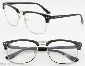 496f03ec8586 Image is loading Fashion-Hipster-Retro-Classic-Semi-Rimless-glasses-Clear-