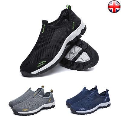 Mens Couples Sport Shoes Slip On Lightweight Memory Foam Flyknit Sneakers Casual