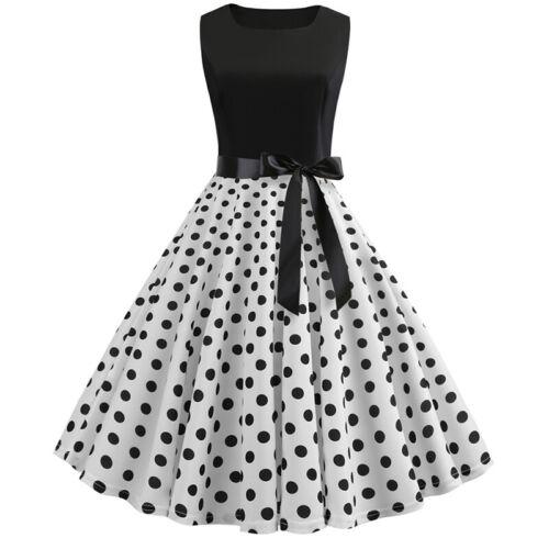 Women/'s 50s Rockabilly Pinup Dresses Formal Lady Polka Dot Swing Dress Plus Size