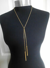 A Elegant Gold Tone Stick Noble Simple Bar Charm Lariat Y- Necklace Body chain