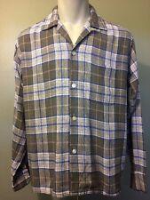 Vtg Rayon Plaid Shirt 1950s Mens Medium VLV Rockabilly Loop 50s 60s Not Arrow M