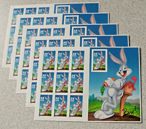 Five Booklets x 10 = 50 Looney Tunes BUGS BUNNY US PS Postage Stamps. Sc # 3137