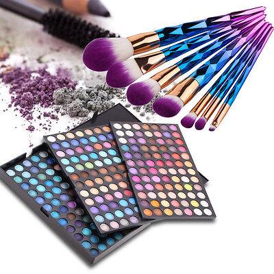 Professional Cosmetics Palette Eye Color Shadow 252 Shades 7Pcs Makeup Brush Set