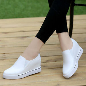 Women-Hidden-Heel-Wedge-Fashion-Sneakers-Leather-Boots-Slip-On-Oxfords-Trainers