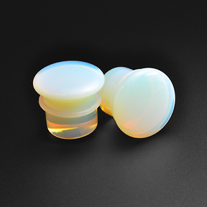 Opalite-Stone-Plugs-Single-Flare-Convex-Sizes-3mm-16mm-Stretchers
