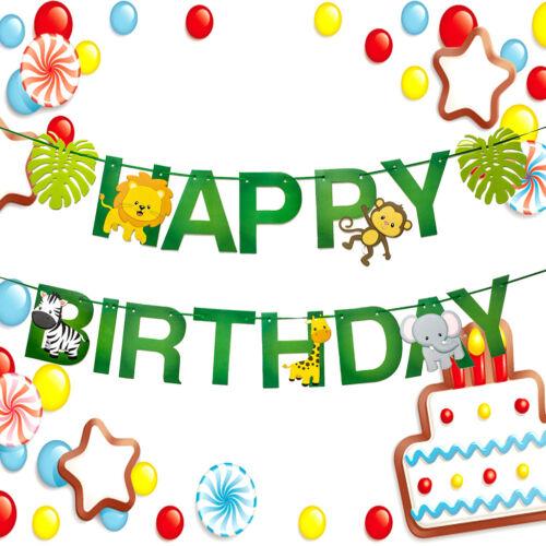 1set Happy birthday Baby Shower Safari Jungle Animal Paper Banner Decor LoveY✔GB