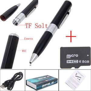 Spy Reccord Pen Camera Mini Hidden DVR Surveillance Video Cam USB SILVER + 8G HD
