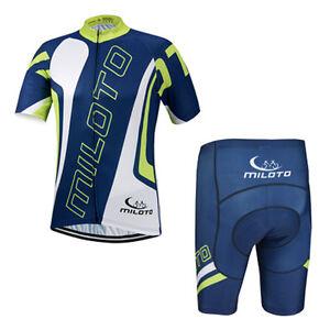Blue Men's Cycling Set Bicycle Short Sleeve Jersey & Padded Bike Shorts Kit