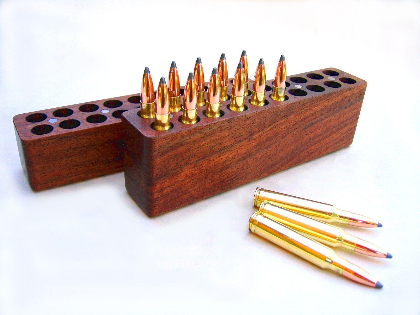 20 RD Madera de Nogal munición Box 264, 300, 338, 458 7mm Remington Mag Winchester Rem