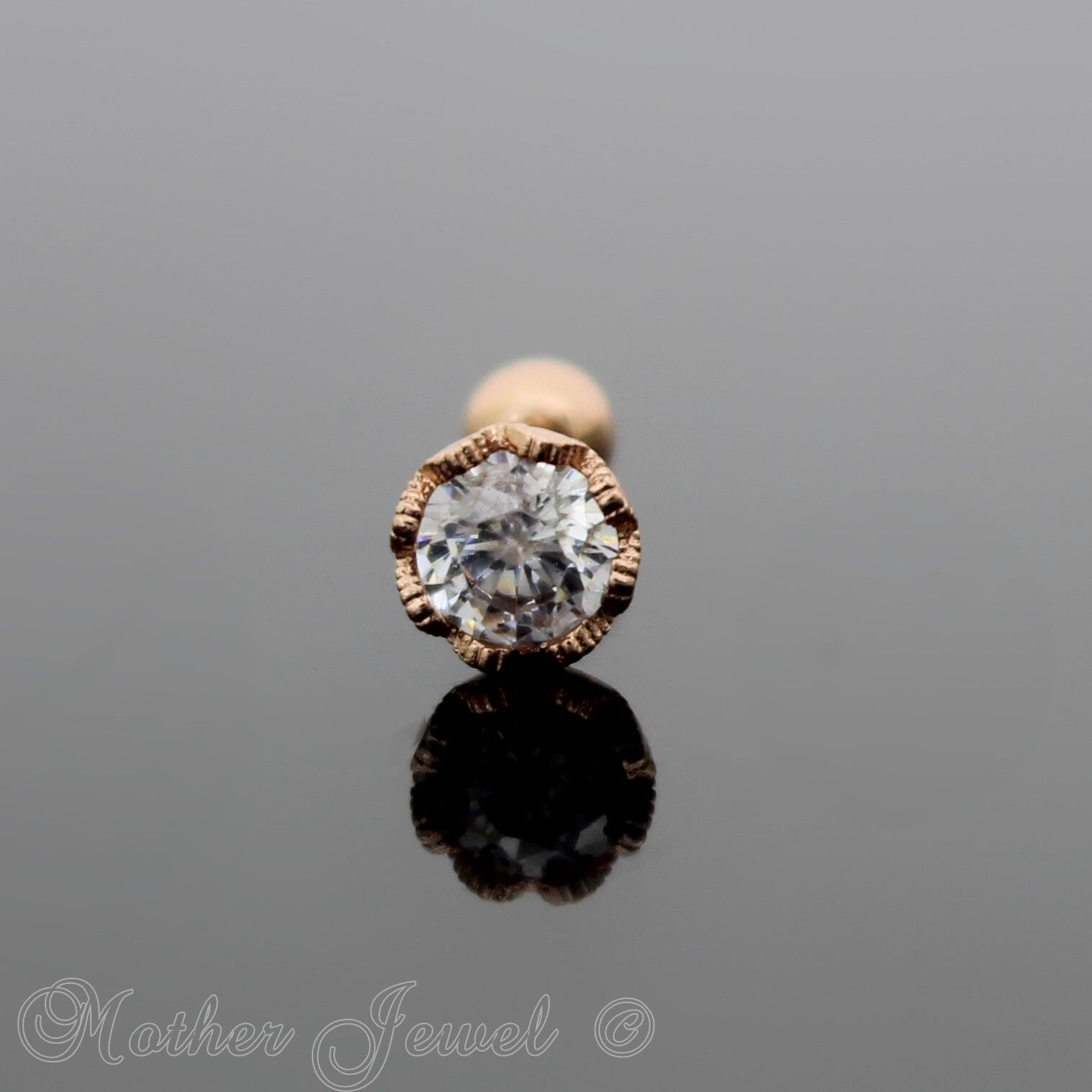 ROSE GOLD TRIPLE PLATED SIMULATED DIAMOND FLOWER TRAGUS HELIX BODY LABRET STUD