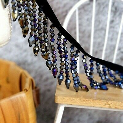 Rideau Corde Gland en Perles de Cristal Frange Bordure Couture Costume Loisirs