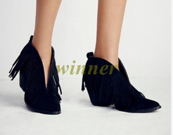 Women's Front V Real Leather Fringe Tassel Ankle Boots Mid Heel Cowboy Oxford sz