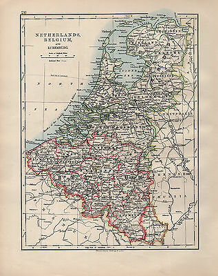 Tireless 1902 Map ~ Netherlands Belgium & Luxemburg Holland Flanders Brabant Europe Maps Maps, Atlases & Globes