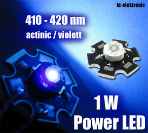 3-Stueck-1W-Power-LED-actinic-violett-UV-410-420nm-350mA-Starplatine