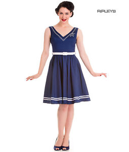 Hell-Bunny-Nautical-Sailor-Pin-Up-Mid-Length-50s-Dress-ARIEL-Navy-Blue-All-Sizes