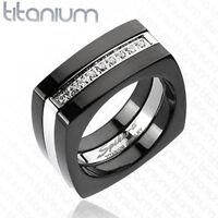 Titanium Multi CZ Square Two Tone Black IP Comfort Fit Mens Wedding Band Ring