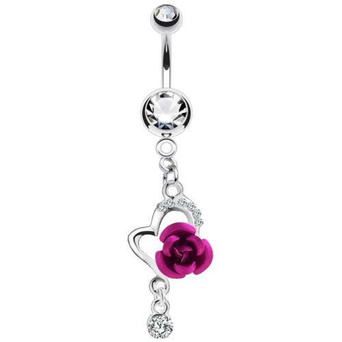 Bauchnabelpiercing Edelstahl ab 6mm mit Herz versilbert Kristall und Rose