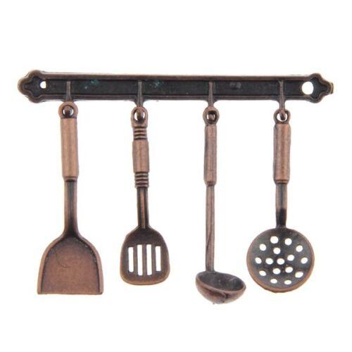 5pcs 1:12 Miniature Alloy Kitchenware Doll House Accessories Bronze V9G5