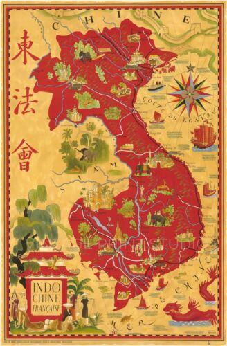 Indochine Francaise Vintage Pictorial Map Poster Giclee Canvas Print 20x30
