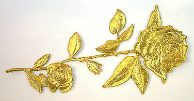 GOLDEN ROSE GOLD GILT FLOWER Embroidered Iron Sew On Cloth Patch Badge APPLIQUE