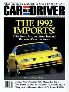 Image Is Loading Car And Driver Magazine November 1991 Honda Prelude