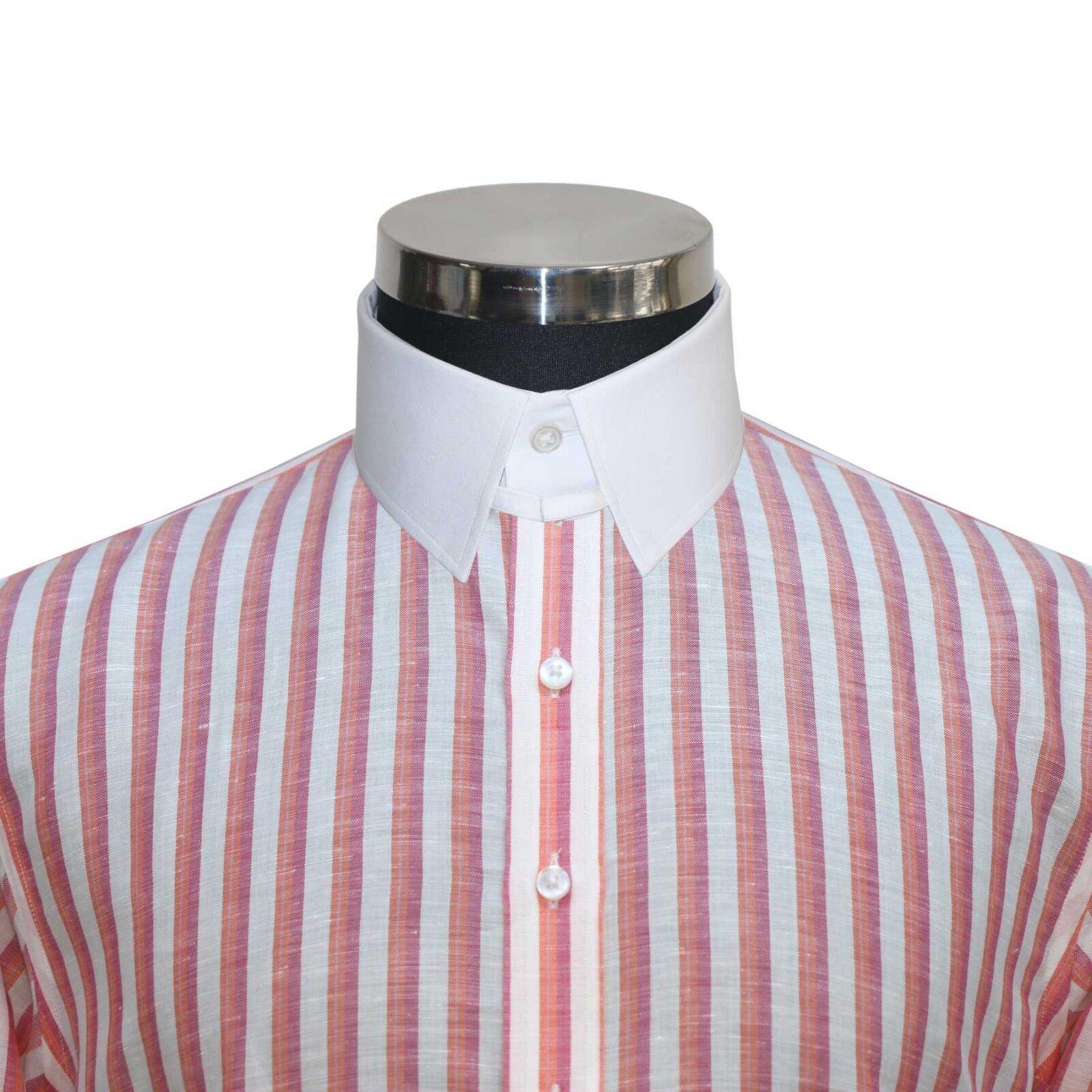 James Bond Herren Loop Kragen Hemden Orange Weißen Streifen Baumwolle Leinen Tab