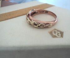 Clogau Gold galés Rose & Amarillo Oro Árbol De La Vida/anillo de hoja de hiedra-Talla N