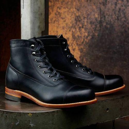 botas para hombre hecho a mano Negro Cuero Con Cordones Zapatos Informales ropa formal de botones en el tobillo