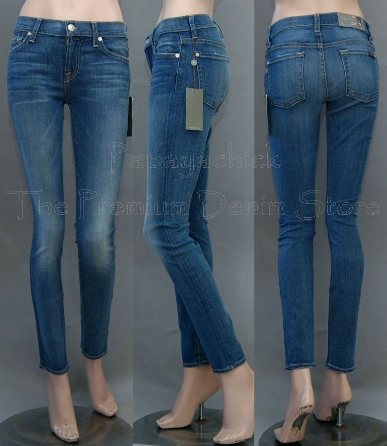 198 NWT 7 SEVEN FOR ALL MANKIND JEANS THE SKINNY SECOND SKIN LEGGING BRDC blueE
