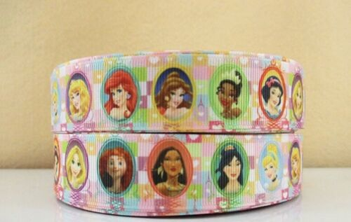 By The Yard 1 Inch 10 Printed Disney Princesses Grosgrain Ribbon Lisa
