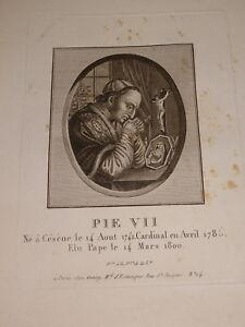GRAVURE-PORTRAIT-PAPE-PIE-VII-EPOQUE-EMPIRE-CESENA-ITALIA-PIO-VII-NAPOLEON-1805