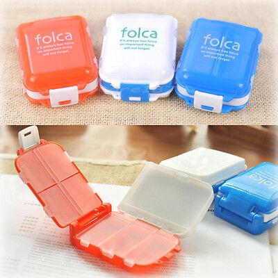 Travel 8 Compartment Pill Box Medicine Organizer Dispenser Case Q087