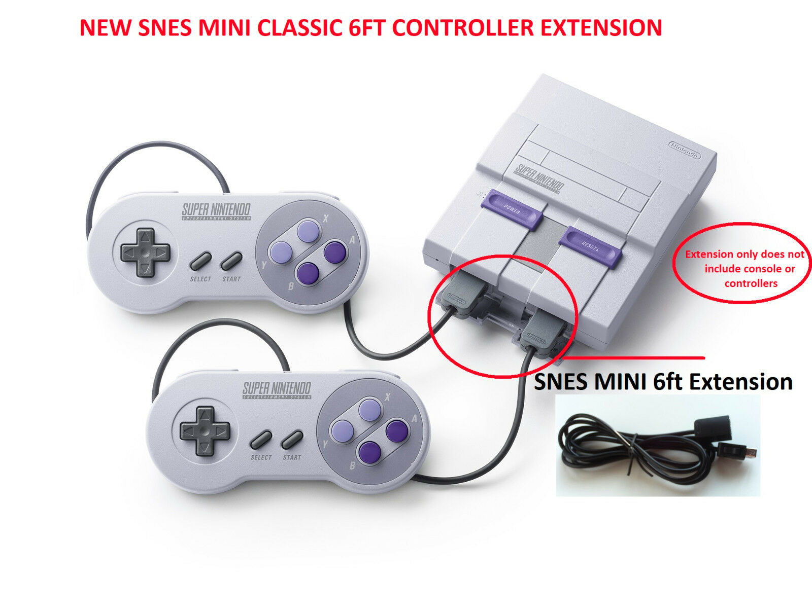 2 snes mini classic super nintendo system console controller extension cable 6ft ebay. Black Bedroom Furniture Sets. Home Design Ideas