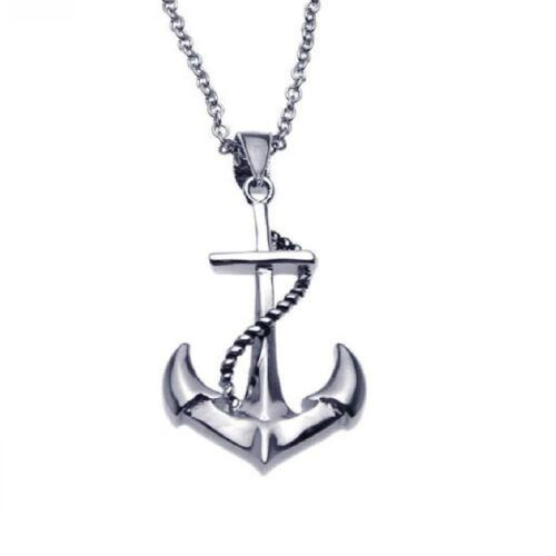 Sterling Silver Necklace w// Anchor /& Rope Pendant