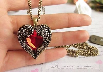 Fashion Antique Bronze Vintage Red Crystal Wing Heart Chain Sweater Necklace