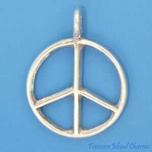World peace symbol sign 925 solid sterling silver charm pendant image is loading world peace symbol sign 925 solid sterling silver aloadofball Image collections
