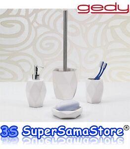 3s nuovo set 4 accessori da bagno dalia gedy in ceramica bianchi d 39 appoggio ebay - Set accessori bagno da appoggio ...