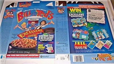 1991 Ralston Bill /& Teds Excellent Cereal Box unused factory Flat bt3n
