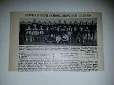 Bingham Canyon & Richfield Utah High School 1930 Football Team Picture