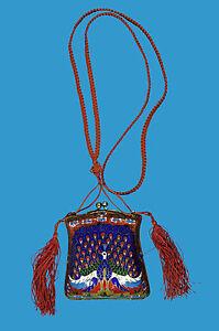 Cloisonne-sehr-seltene-Abend-Tasche-mit-Pfau-Peacock-China-spaete-Qing-Dynastie